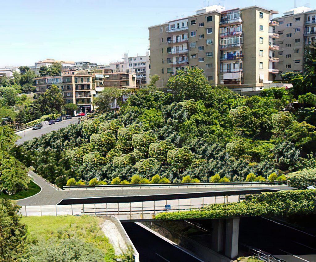 Galleria artificiale tra i cavalcavia di via piave e del parco parva domus sulla tangenziale di Napoli